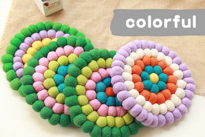 2pcs 20*20*2cm Handmade Wool Felt Ball Trivet Table Heat Resistant Mat Cup Round Coaster
