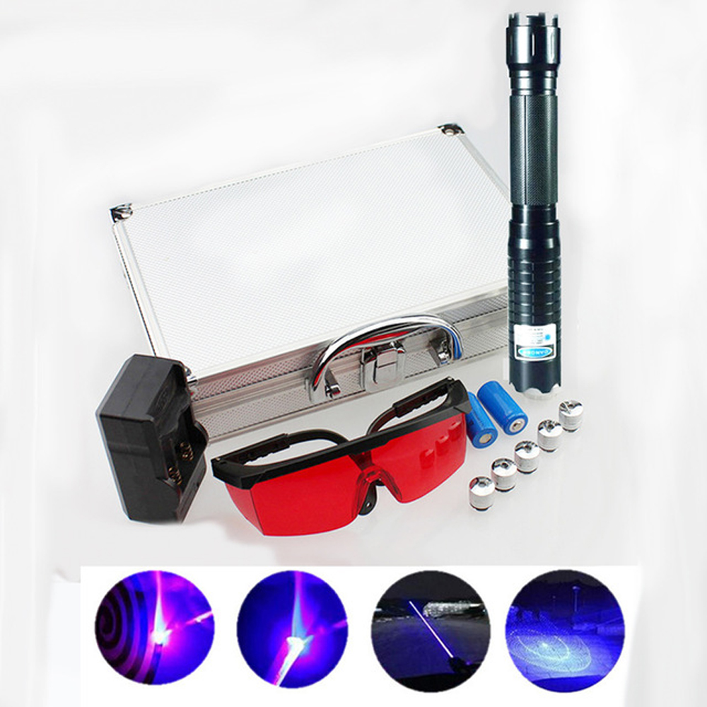 Most Powerful Burning Laser Torch 445nm 10000m Focusable Blue Laser Pointers Flashlight burn match candle lit cigarette