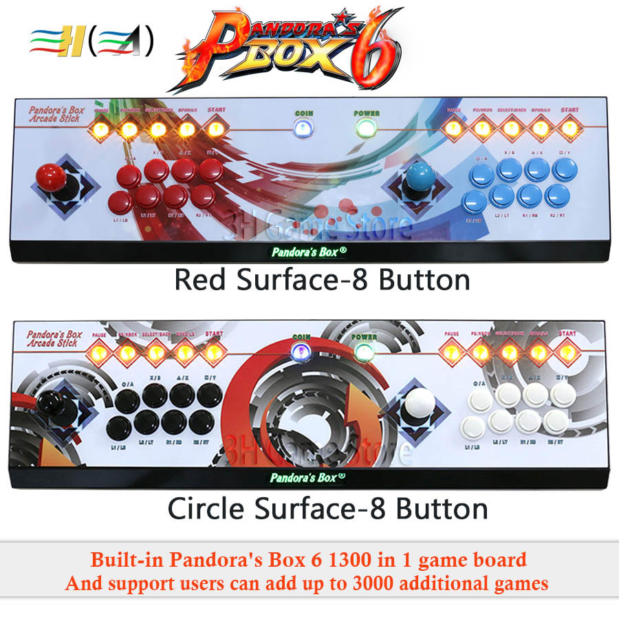 Pandora's Box 6 8 knop arcade console 1300 in 1 kan toevoegen 3000 games 2 spelers HDMI VGA usb joystick voor pc video game ps3 TV