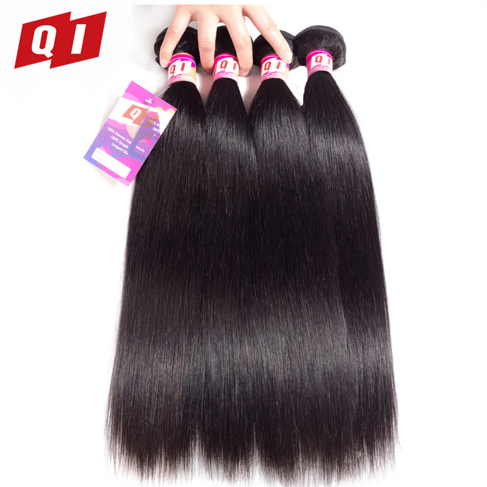 QI Hair Straight Mongolian Hair Weave 4 Bundles 100% Human Hair Natural Color Hair Extensions Non Remy No Tangle Free Shipping