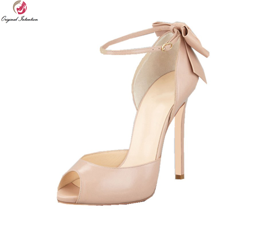 ФОТО Original Intention Fashion Women Pumps Elegant Peep Toe Thin Heels Pumps High-quality Black Nude Shoes Woman Plus Size 4-10.5