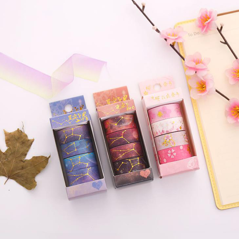 4 Pcs/pack Lovely Cherry Sakura Galaxy Starry Sky Masking Washi Tape Decorative Tape DIY Scrapbooking Sticker Label Stationery