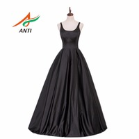 ANTI High Quality A Line Long Evening Dress Satin Formal Vestidos Black Fashion Elegant Evening Gowns
