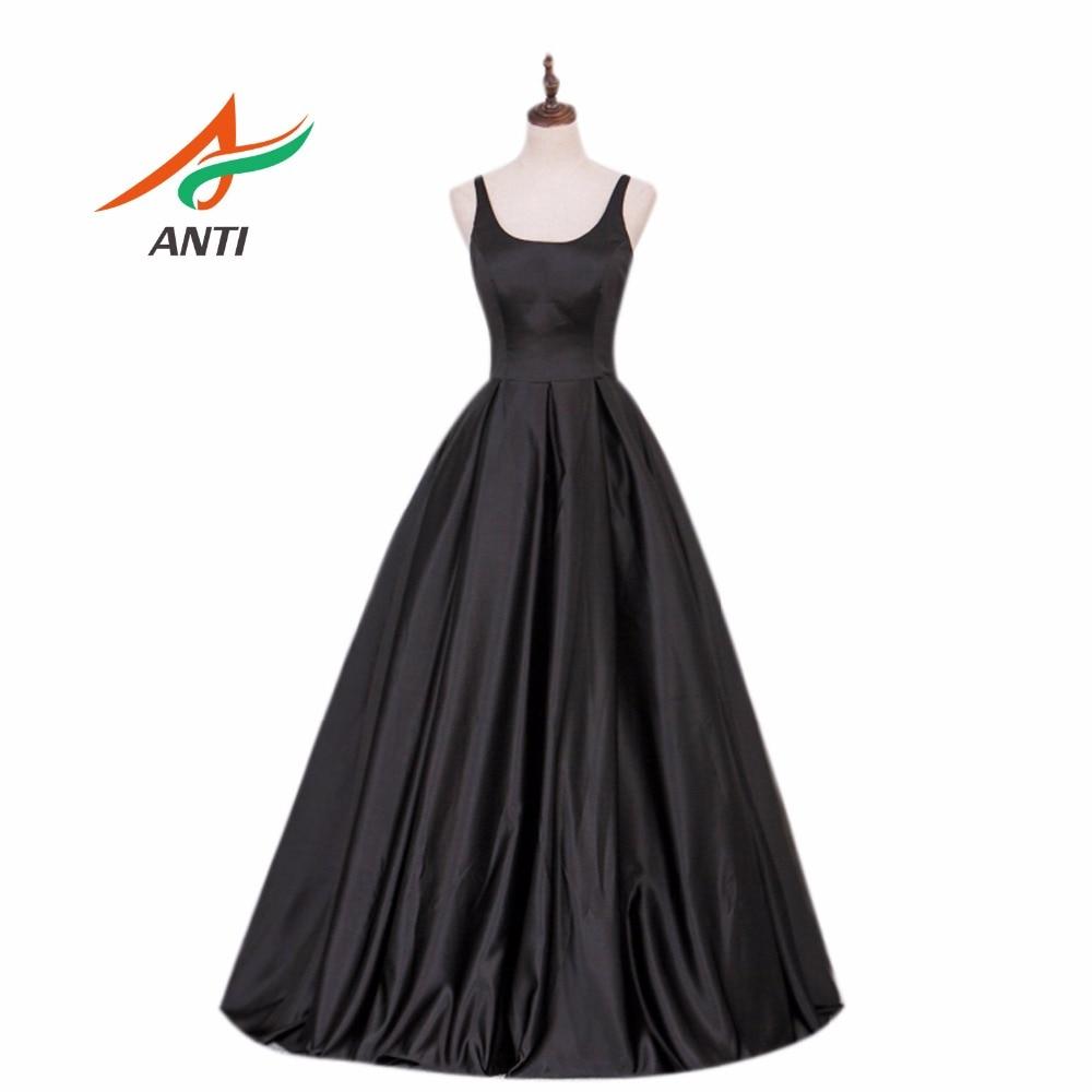 ANTI de alta calidad de una línea de vestido de noche largo satinado vestidos formales Negro de moda vestidos de fiesta por la noche correa de hombro ajustable