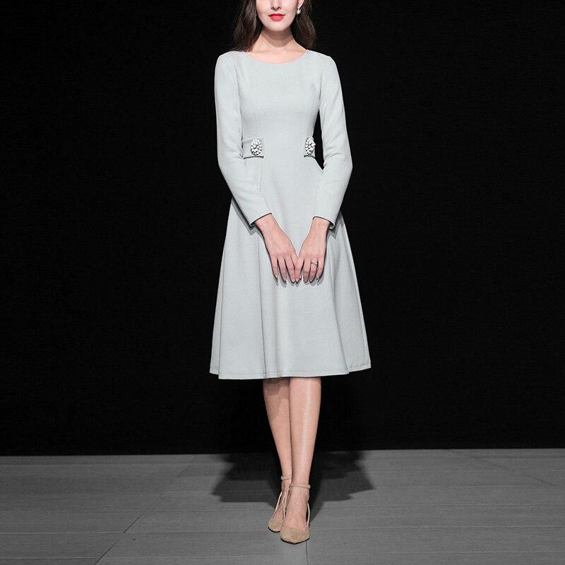 2018 Autumn New Designer Style European And American Slim Waist Long Sleeved Round Neck Collar Knee length Dress Women's Dresses