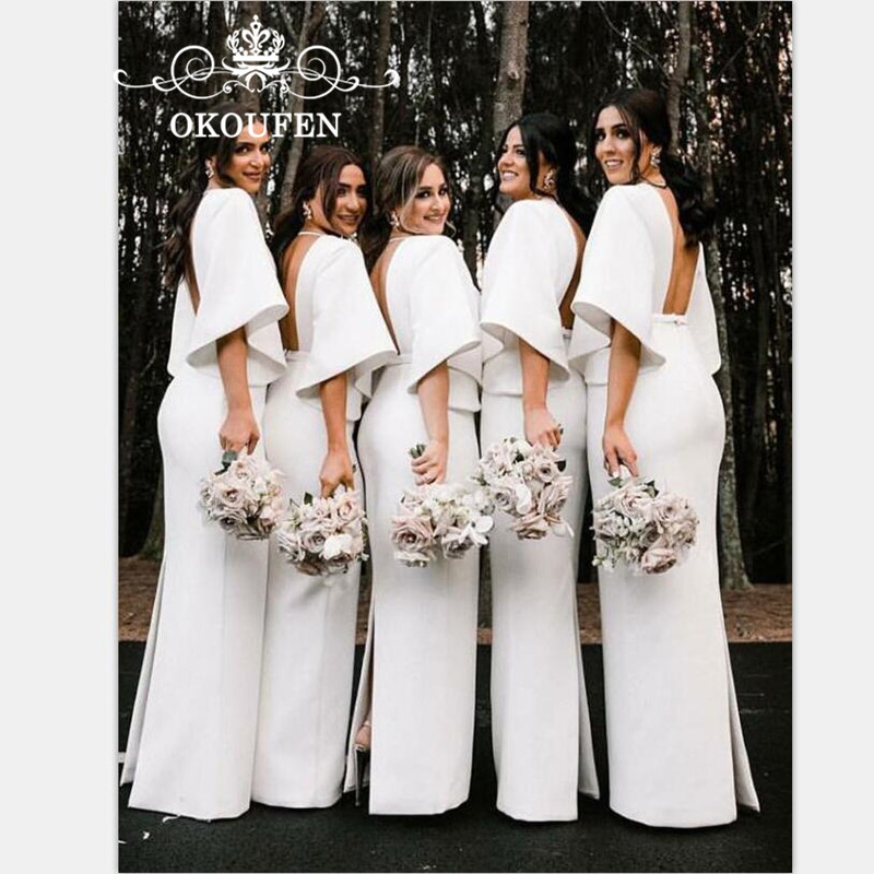 Newest Long Bridesmaid Dresses With Half Sleeves White Satin 2019 Sexy Backless Back Split Party Dress Maid Of Honor For Women