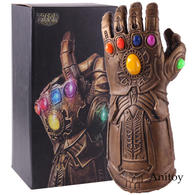 Avengers Endgame Infinity Gauntlet Thanos Cosplay Glove with LED Light PVC Action Figure Thanos Glove Collectible Model Toy