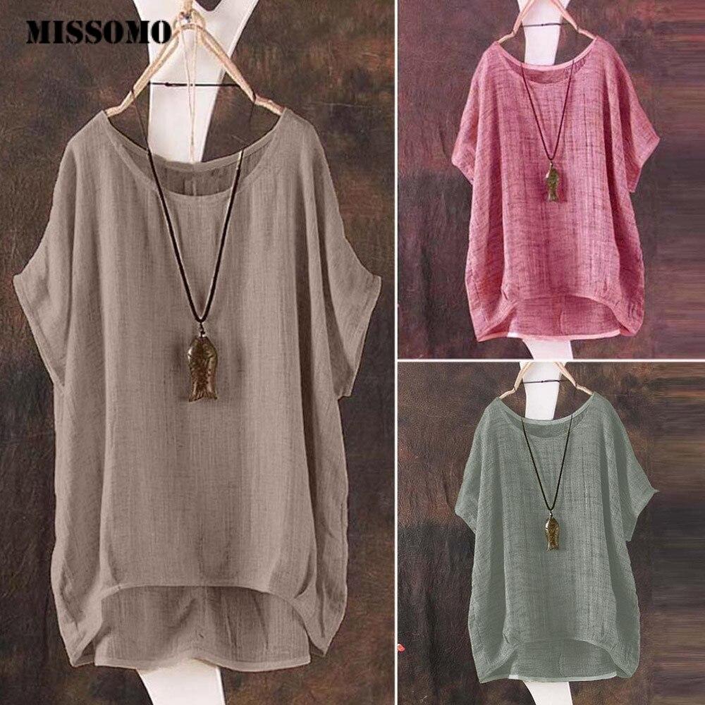 Женская футболка с коротким рукавом MISSOMO, винтажный Повседневный свободный льняной пуловер большого размера 5XL, 613