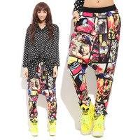Casual Kobiet Hip-Hop Spodnie Spodnie Harem Pants Mody Kobiet Druku Luźne Duży Rozmiar Spodnie Tańca Streetwear Odzież NZ078