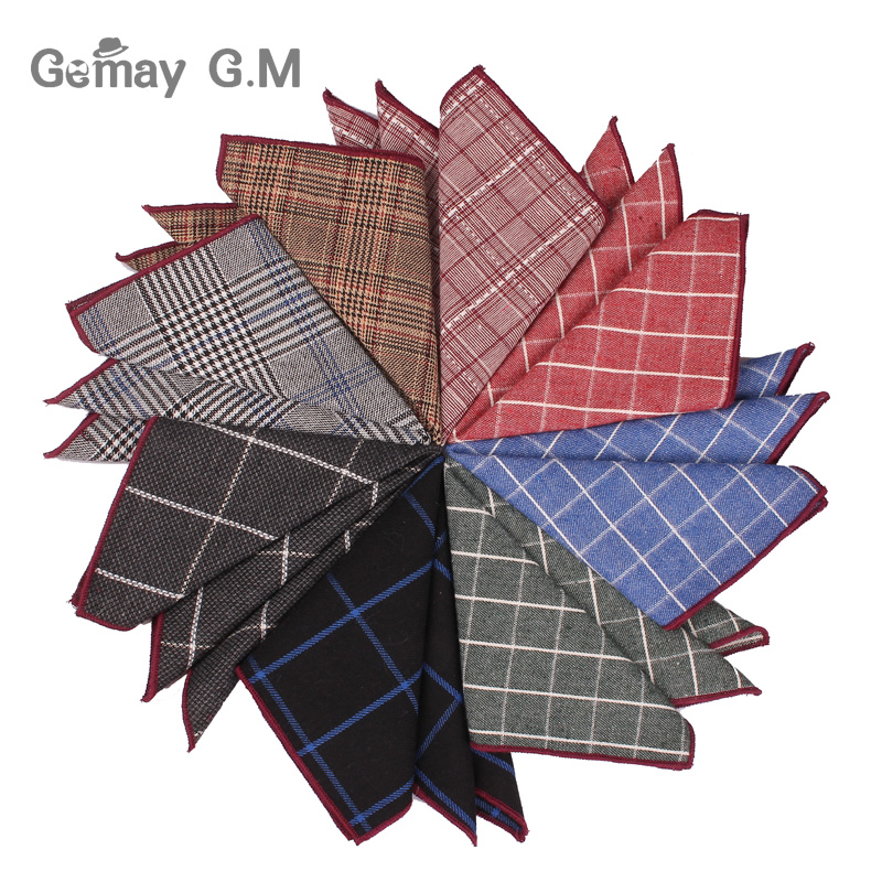 Fashion Plaid Mens Handkerchief Cotton Suits Pocket Square For Men Business Chest Towel Hanky Gentlemen Hankies 24 Cm X 24 Cm
