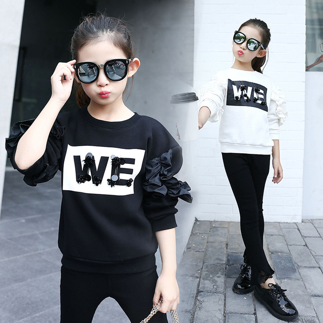 Girls T-shirts Kids Cotton Tees For Girls Spring Autumn Letter Printed Teenage Kids Clothing 8 9 10 12 Years