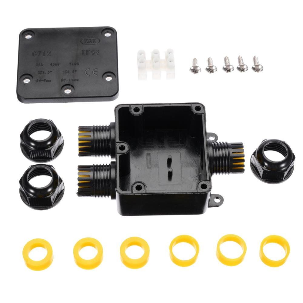 3 Way 450V 24A Waterproof Electrical Junction Box Cable Wire Connector Kit IP68