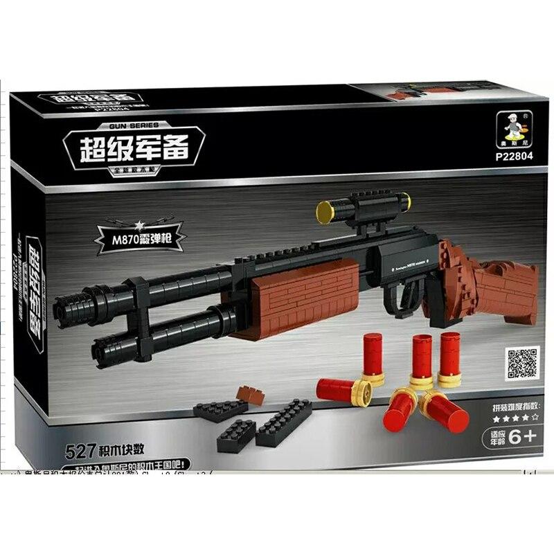 Ausini 527pcs Gun Model Assembled Toy Gun M870 Shotgun Building Blocks Gun Weapon Children Educational Military Toys Gift