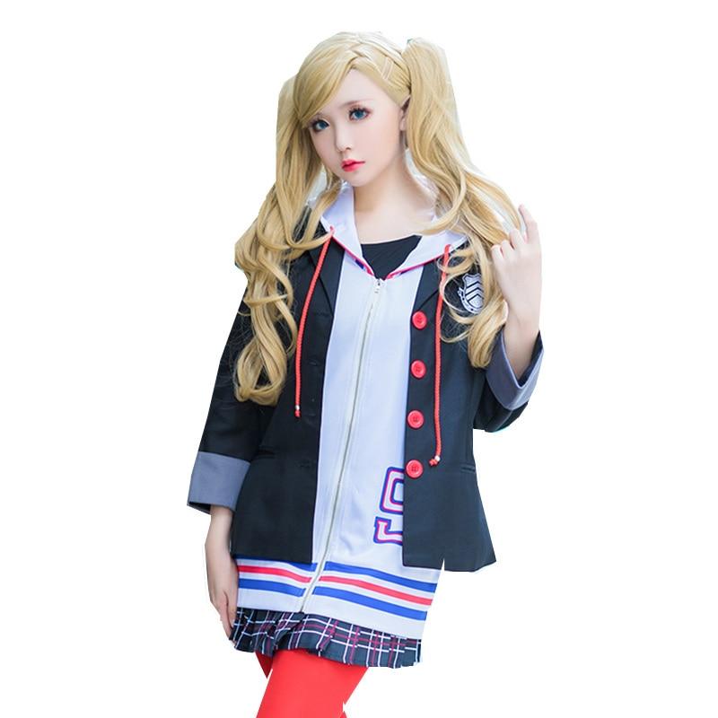 Persona 5 Ann Takamaki Cosplay Costumes School Girls Uniforms Jacket+Hoodie+Skirt+Socks For Halloween Party 2018 persona 5 makoto nijima cosplay costumes women school uniform