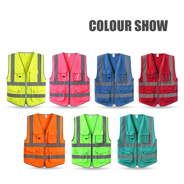 EN 20471 ANSI/SEA High Visibility Zipper Front Safety Vest With Reflective Strips construction safety reflective vest
