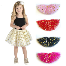 3PCS/Lot Baby Girls Kids Clothes Tutu Skirt Party Dance Princess Girl 3 Layers Gold Dot Tulle Pettiskirt Children Ballet Skirts недорого
