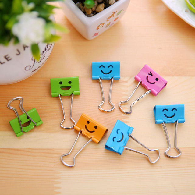 40Pcs/ Box Smiley Face Pattern Metal Binder Clips For