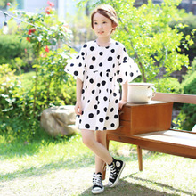 chiffon baby teenagers girls summer dress 7 8 10 12 14 4 6 years flare sleeves dot kids girl dresses 2017 loose children