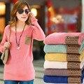 O pescoço capuz Tricotado malha camisolas 2016 mulheres moda sólidos inverno quente malha bordado mulheres blusas de manga B332
