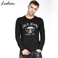 LeeLion 2017 Brand Original T Shirt Men Autumn Long Sleeve Modal Cotton T-shirt Fashion Casual Anchor Letter Print Slim Tshirt