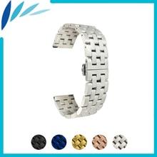 цена на Stainless Steel Watch Band 20mm 22mm for Hamilton Butterfly Buckle Strap Wrist Quick Release Loop Belt Bracelet Black Silver