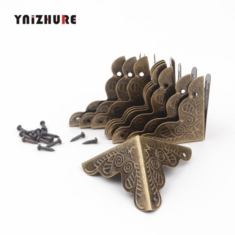 YNIZHURE 10PCS Luggage Case Box Corners Brackets Decorative Corner For Furniture Decorative Triangle Rattan Carved