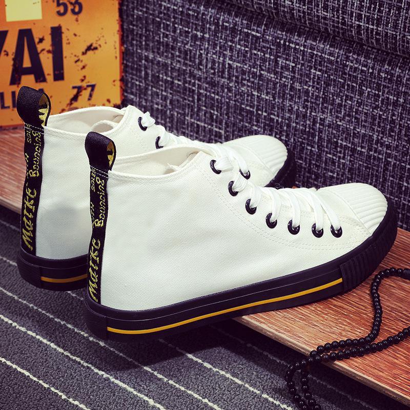 Fooraabo Marque Masculino Mode De Pour Montantes 2017 Automne Chaussures Adulto Black Noires Baskets Toile white Hommes Tenis qqrCdOx