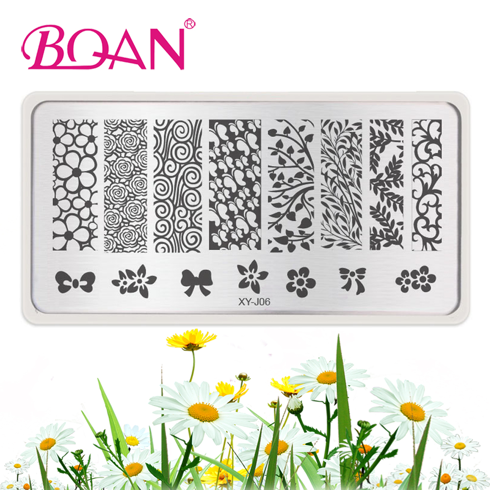 1 STÜCK BQAN XY J06 Nagel kunst platte Blume Design Nagel Stempel ...