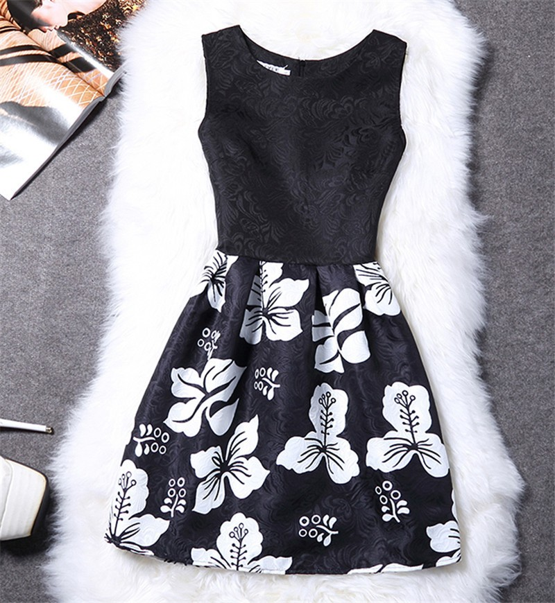 Femme fashion sweet Ball Gown party dress Women,Printed vest sleeveless dress tutu summer style bottoming,summer dress TT818 4