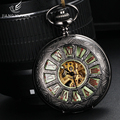 Luminous Dial Skeleton Automatic Self-Wind Pocket Watches For Men & Women Rome Style Mechanical Watch Hours With 36cm Chain Gift