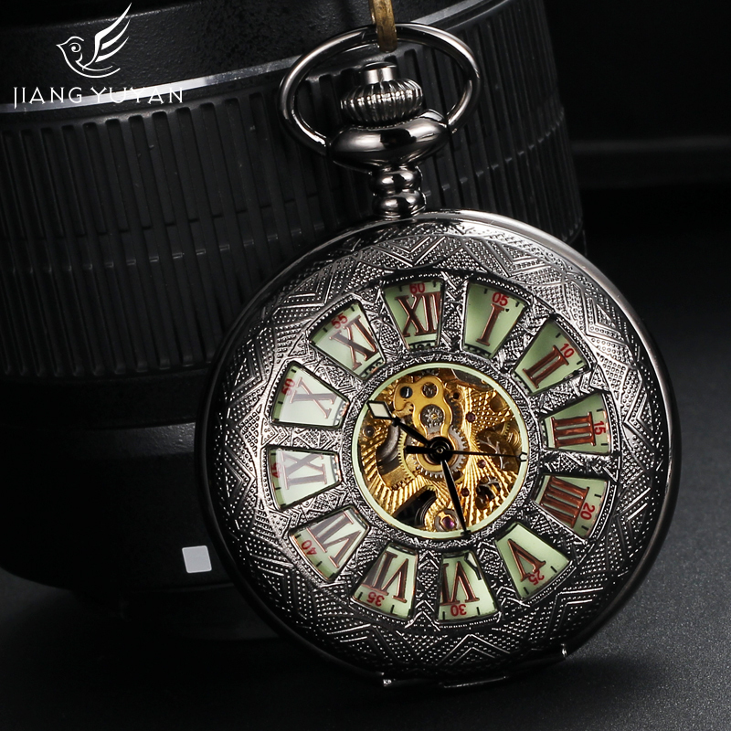 Luminous Dial Skeleton Automatic Self Wind Pocket Watches For Men & Women Rome Style Mechanical Watch Hours With 36cm Chain Gift