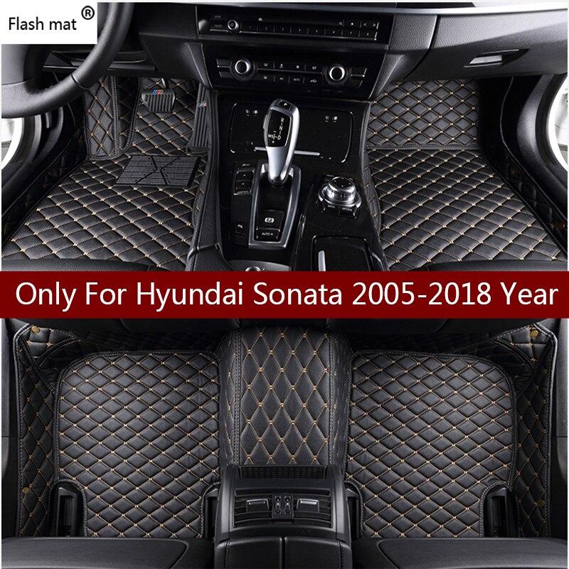 Flash tapis en cuir de voiture tapis de sol pour Hyundai Sonata 2006-2013 2014 2015 2016 2017 2018 Personnalisé pied Tapis automobile tapis couverture