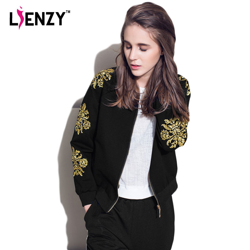 Lienzy 2016 Spring Black Women Jacket Coat 3D Gold Floral -6120