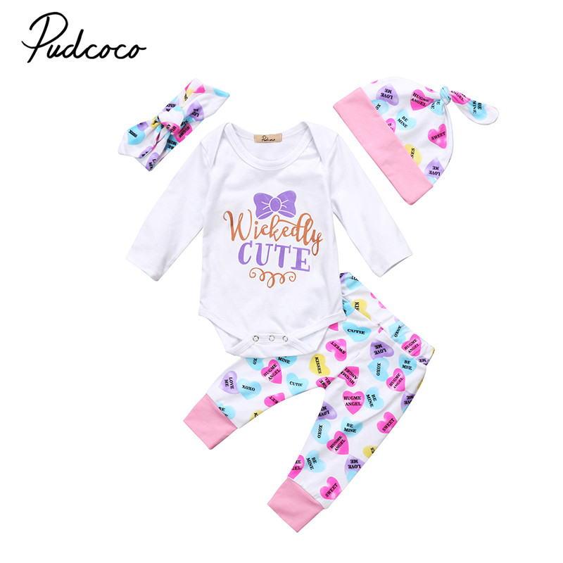 0 to 24M Newborn Baby Girls Clothes New Style Long Sleeve Romper Playsuit+Pants Hat+Headdress 4pcs Outfit Baby Clothing Set
