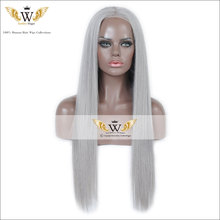 7A Silky Straight Gray Human Hair Wigs Remi Silky Straight Full Lace Light Gray Lace Wigs Glueless Gray Front Lace Wigs