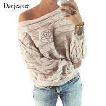 Danjeaner Autumn Winter Sexy Slash Neck Pullovers Off Shouler Bat Sleeve Three-dimensional Floral Twist Sweater Knitted Jumper