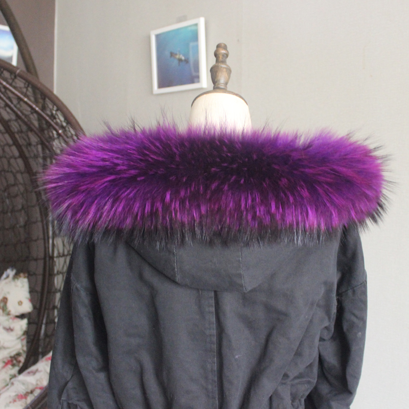 Зимняя куртка из натурального меха, воротник из натурального меха енота, женские шарфы, пальто, женская шапка, длинный теплый шарф из натурального меха, большой размер - Цвет: Purple