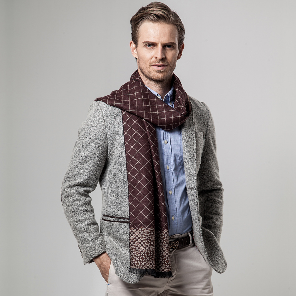 Cashmere Scarf Plaid Winter New-Brand Men Peacesky YH101 Men's
