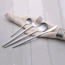 4 Teile/satz 18/10 Edelstahl Geschirr Luxus Silber Geschirr Messer Gabel Teelöffel Geschirr Besteck Service für 1