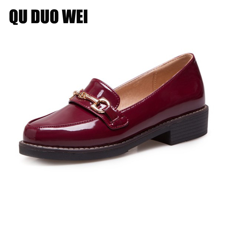 Women Flats Oxford Shoes Big Size Flat Patent Leather Vintage Shoes Round Toe Handmade 2018 Oxfords Shoes For Women Loafers women ladies flats vintage pu leather loafers pointed toe silver metal design
