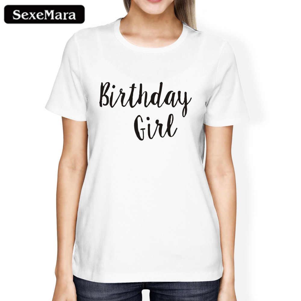 SexeMara วันเกิดของขวัญพิมพ์ T เสื้อสบายๆแขนสั้นผู้หญิงเสื้อยืดยี่ห้อ One สั้นเสื้อ T เสื้อเสื้อ