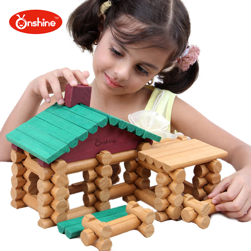 цена 90pcs Forest Log Set Creative Educational Building Blocks Construction Cabin Suit Assembles Toy Wooden Lincoln Room Toys