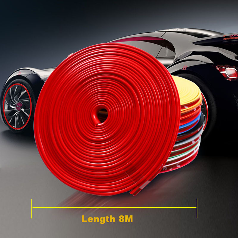 8M Car Wheel Hub Rim Edge Protector Ring Tire Strip Guard Rubber Decals For Toyota Avalon in Styling Mouldings from Automobiles Motorcycles