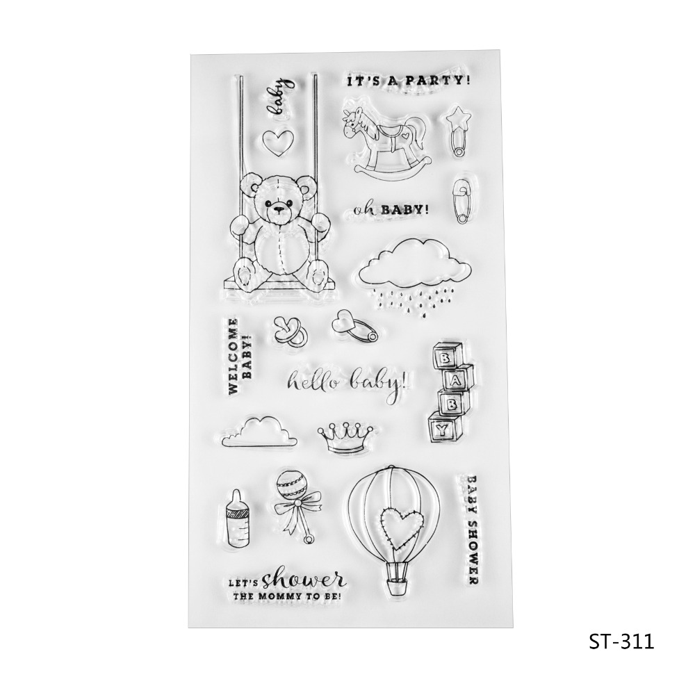 Lovely party for baby Silicone Transparent Stamp Clear Stamps Set for DIY Scrapbooking Photo Album Decoration Supplies lovely animals and ballon design transparent clear silicone stamp for diy scrapbooking photo album clear stamp cl 278