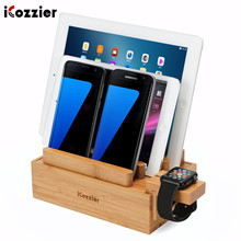 iCozzier Mini 3-slots Bamboo Watch Stand Multi-device Charging Station and Cord Organizer Dock