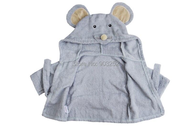 Милый детский банный халат с мышкой пандой, чистый хлопок, купальный Халат с капюшоном, Пляжное банное полотенце, спа-халат с мышкой крысы, пончо для младенцев