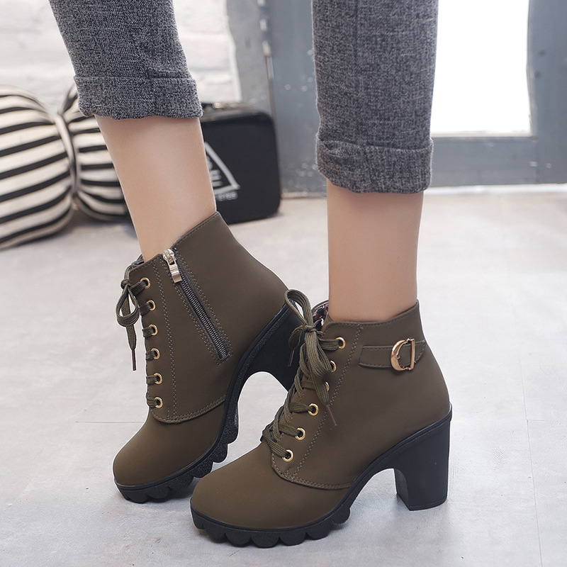 Женская обувь; Новинка 2019 года; женская обувь ace-up; обувь на высоком каблуке; женские туфли-лодочки на молнии и толстом каблуке; zapatos de mujer