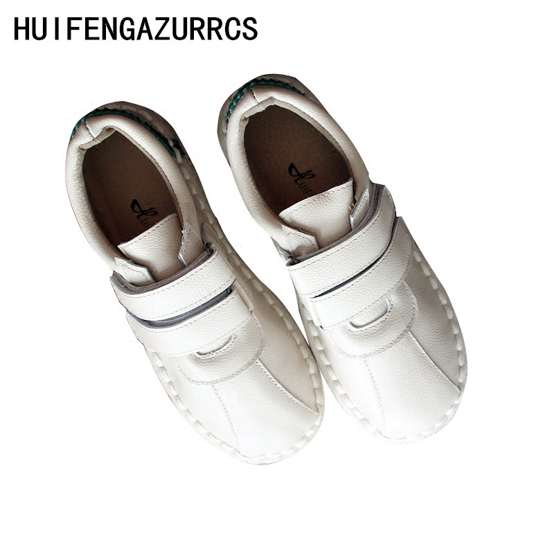 HUIFENGAZURRCS True leather single shoes new style of literature and art RETRO sewing magic flat sole