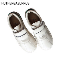 HUIFENGAZURRCS-True leather single shoes new style of literature and art RETRO sewing magic flat sole Mori womens
