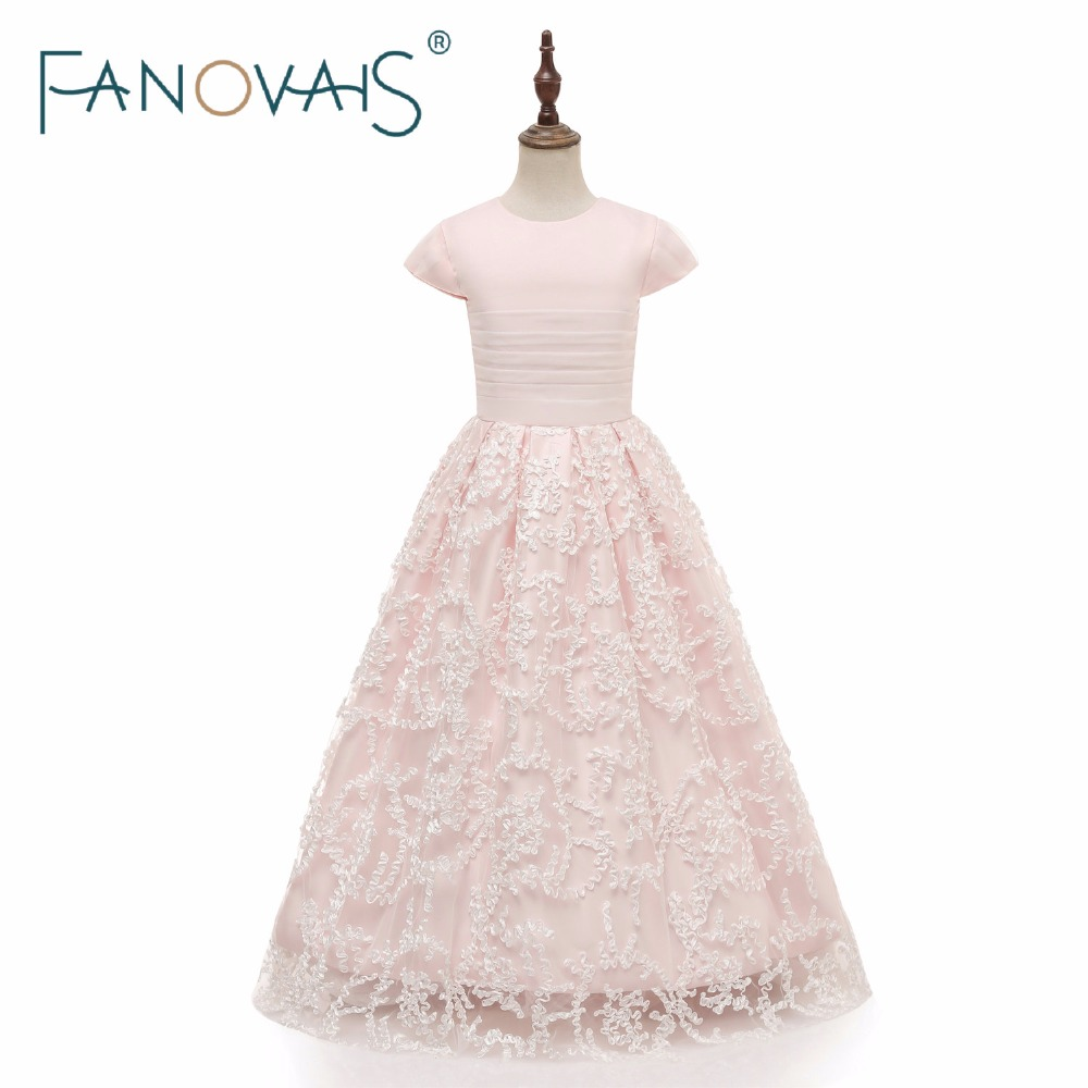 Light Pink Flower Girl Dresses Cap Sleeves Long Lace Girl Dresses 2019 vestido daminha girls dresses for party and wedding